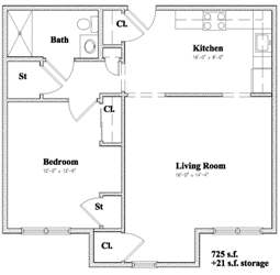 Devon Management - Independence Square - Newburgh, NY - 1 Bedroom Floor Plan