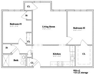 Devon Management - Independence Square - Newburgh, NY - 2 Bedroom Floor Plan