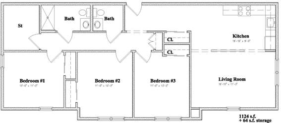 Devon Management - Independence Square - Newburgh, NY - 3 Bedroom Floor Plan