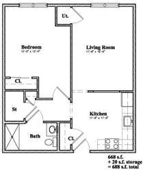 Devon Management - Golden Ridge - Monticello, NY - 1 Bedroom Floor Plan