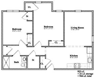 Devon Management - Golden Ridge - Monticello, NY - 2 Bedroom Floor Plan