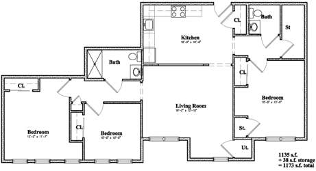 Devon Management - Golden Ridge - Monticello, NY - 3 Bedroom Floor Plan